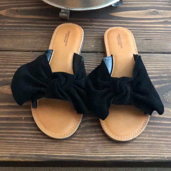 a92380843 American Eagle Outfitters Shoes | New Ae Black Bow Slide Sandal ...